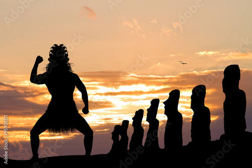 Maori man on Easter Island
