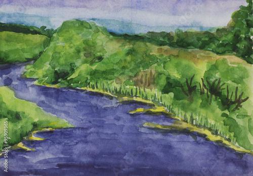 Foto op Aluminium Scandinavië Summer landscape with river. Watercolor painting