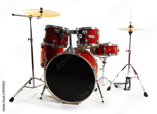 Photo Set of red drums isolated on white background