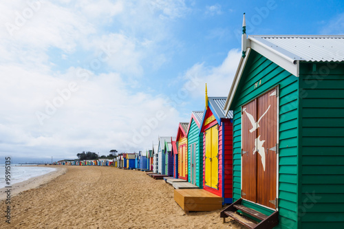 plakat Colorful bath houses, Brighton Beach in Melbourne
