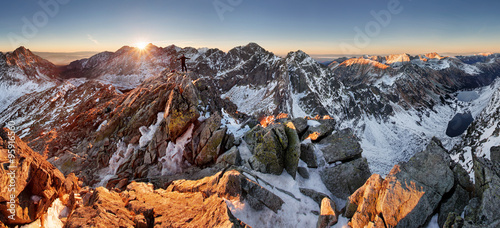Deurstickers Chocoladebruin Panorama of winter mountain - Tatras, Slovakia