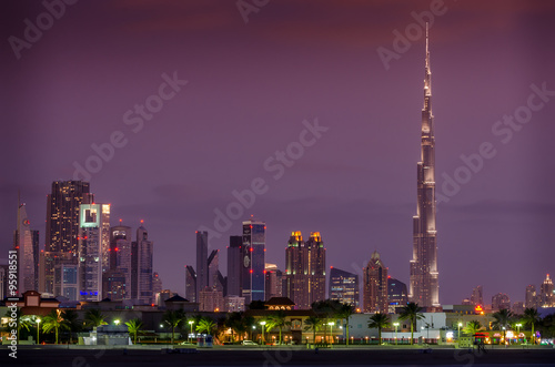 Downtown of Dubai, United Arab Emirates, in the sunset Canvas Print