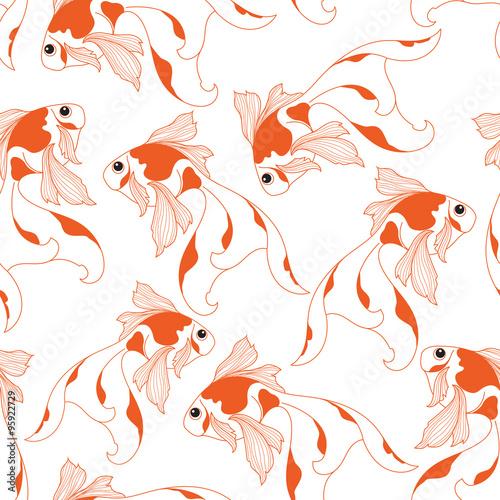 Goldfish pattern. Seamless pattern background.