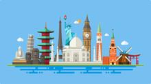 Illustration  Of Flat Design Postcard With Famous World Landmark