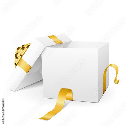 Offene, leere Vektor Geschenkkiste mit goldener Schleife und Band ...