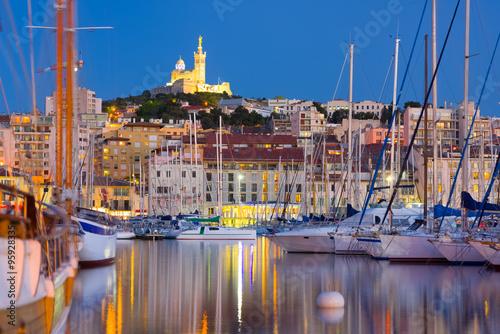 Fotografia  Marseille port at a summer night
