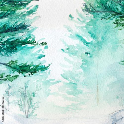 zimowy-las-sosnowy-malowany-akwarela