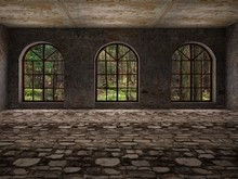 Large, Empty, Abandoned Room With Large Arc Windows And Stone Floor