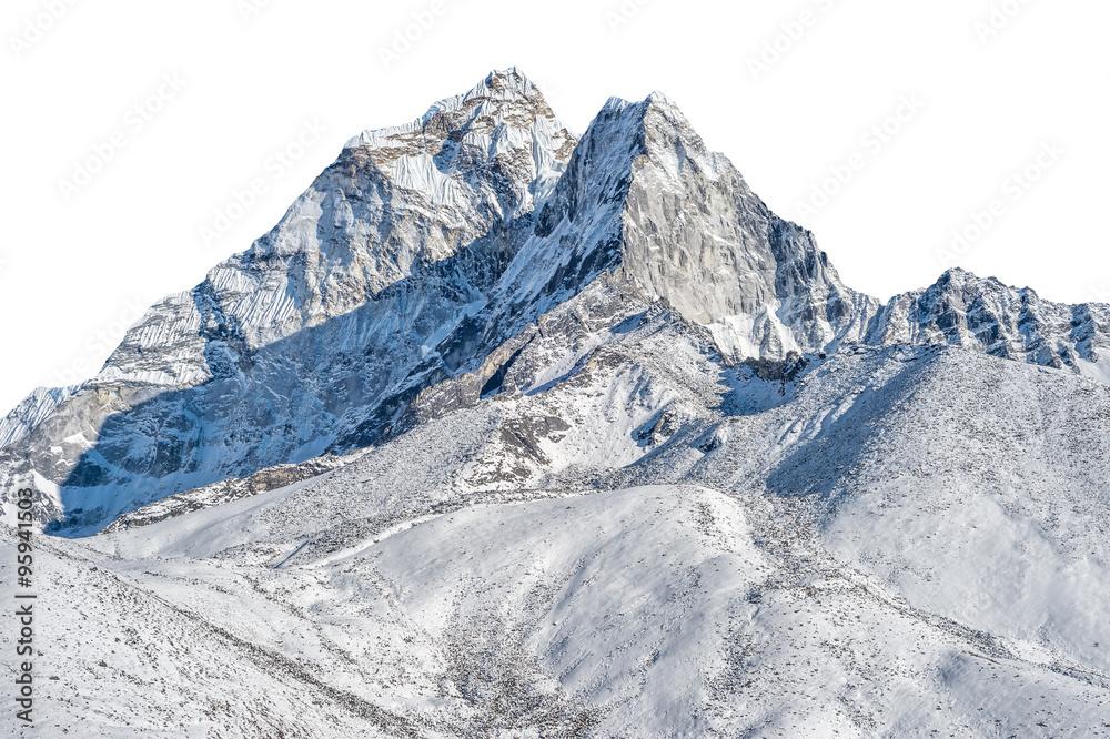 Fototapety, obrazy: Snowy peak isolated over white background