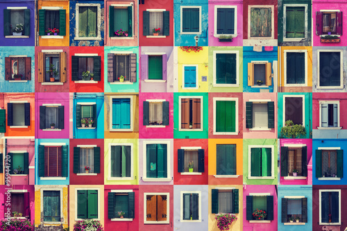 Fototapeta Abstract colorful windows on the island of Burano Venice Italy