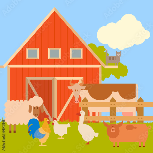 Farm banner with flat animals1