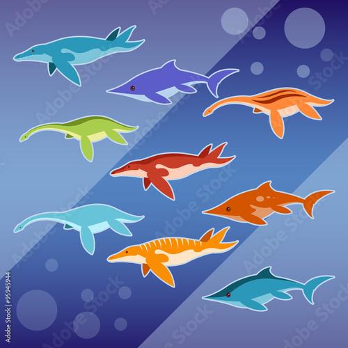 Photo  Set of water jurassic reptiles