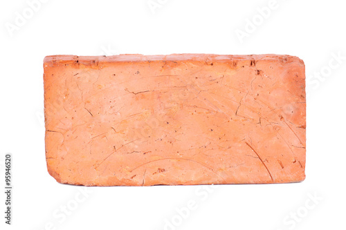 Photo  new red brick isolated