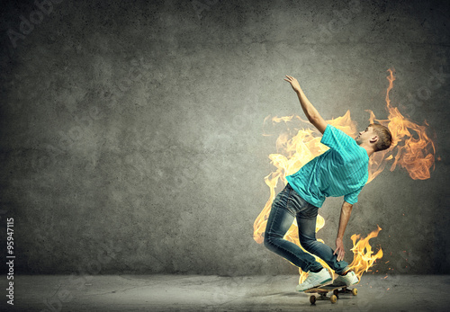 Printed kitchen splashbacks Artist KB Teenager boy on skate