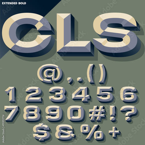 Vector Set Of Old School Bold Beveled Numbers And Symbols Simple