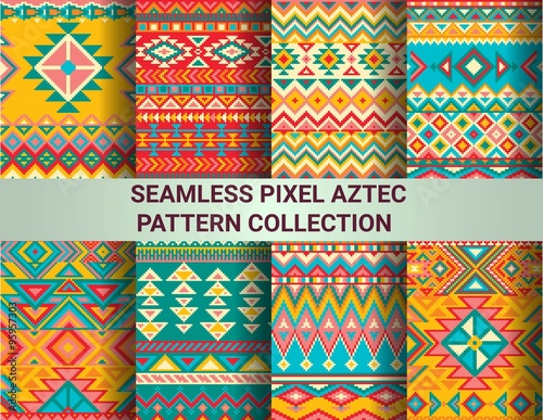 Collection of bright seamless pixel patterns in tribal style Fototapeta