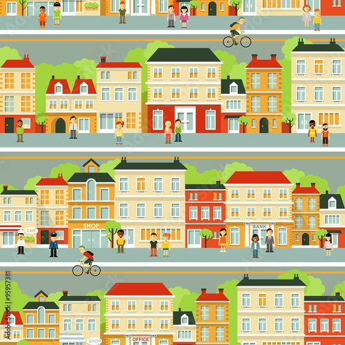 Deurstickers Op straat City street seamless background with people in flat style