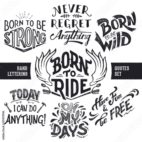Photo  Hand lettering trendy motivational and funny quotes set isolated on white backgr