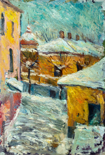 Beautiful bright colors  winter Original Oil Painting of street  On Canvas - 95965309