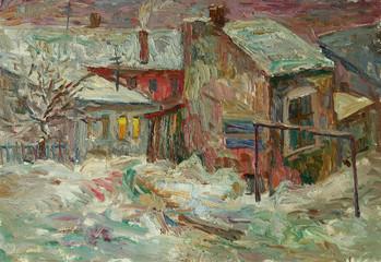 Fototapeta Zima Beautiful bright colors winter Original Oil Painting of street On Canvas