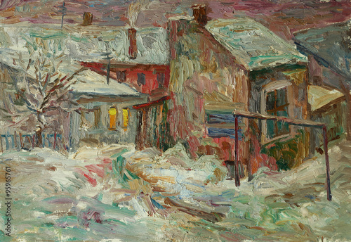 Beautiful bright colors  winter Original Oil Painting of street  On Canvas - 95965761