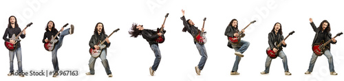 Obraz Funny guitar player isolated on white - fototapety do salonu