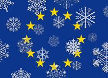 European Union Flag With Snowflakes