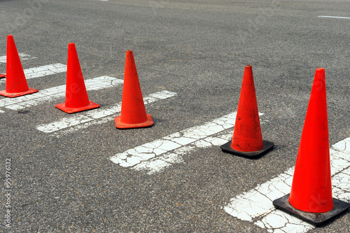 Fotografie, Obraz  traffic cones on the street