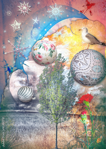 Wall Murals Imagination Dreams valley series with starry moon and snow flakes.