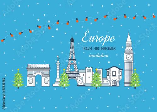Staande foto Kasteel Travel to Europe for christmas. Merry Christmas greeting card design