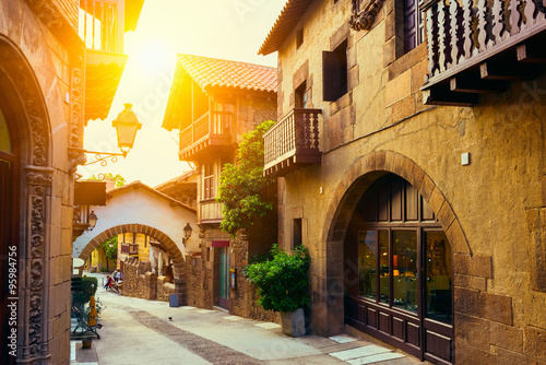 In de dag Barcelona Poble Espanyol - traditional architectures in Barcelona, Spain