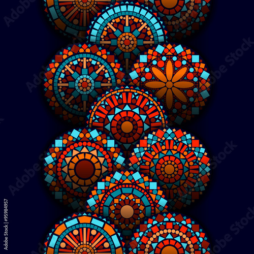 colorful-circle-flower-mandalas-geometric-seamless-border-in-blue-red-and-orange-vector