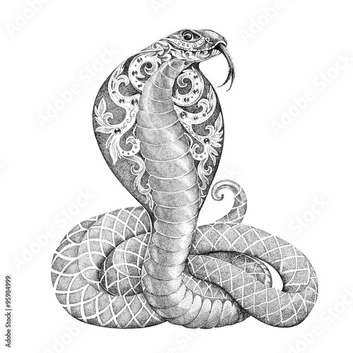 Fotografía  Tattoo snake cobra with open cowled