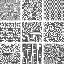 Set Of Seamless Patterns Backgrounds. Vector Illustration.