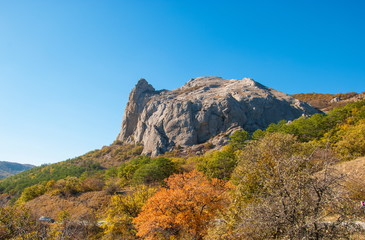 The tops of the Crimean mountains in autumn