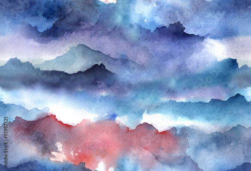 Juliste  Watercolor abstract seamless pattern