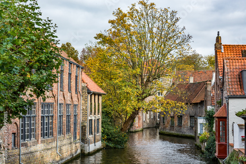Wall Murals Bridges Medieval houses over the canal in Bruges on a cloudy day