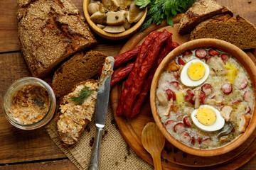 Fototapeta Do restauracji Traditional polish Easter soup Zurek
