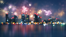 Blurred City And Fireworks