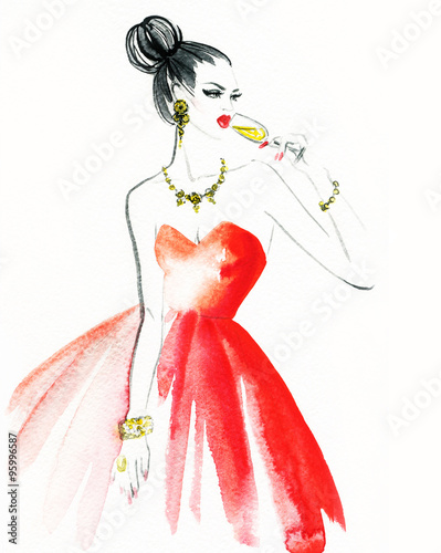 Woman with glass of champagne. Christmas and New Year holiday celebration. Watercolor illustration