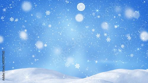 Valokuva beautiful snowdrift and magic snowfall