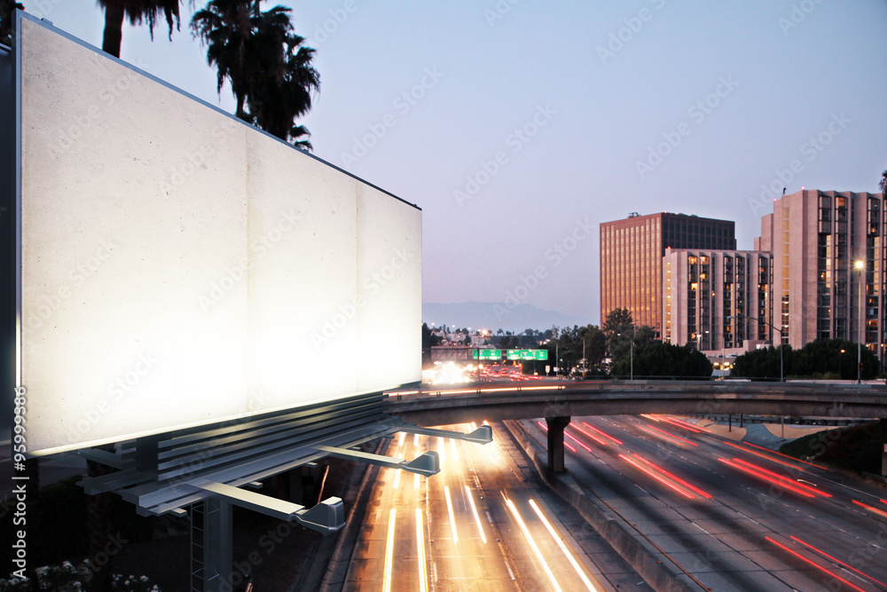 Fototapety, obrazy: Blank white billboard on the background of the highway at evenin