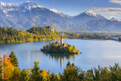 Poster de jardin Lac / Etang Panoramic view of Lake Bled from Mt. Osojnica, Slovenia