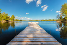 Wooden Jetty On A Sunny Day In...