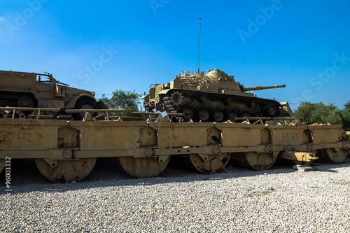 Cuadros en Lienzo M60 Patton Tank with M9 Dozer Blade and M3 half-track carrier on Pontoon bridge