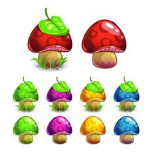 Cute Cartoon Vector Mushrooms Set