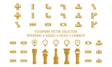 Steampunk Collection (isolated On White) - Pipeworks, Gauges & Chimneys