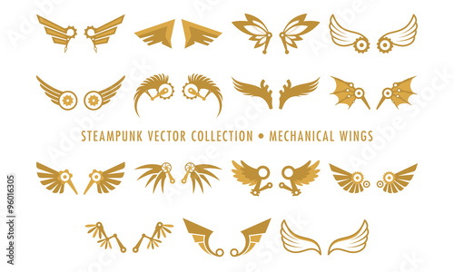 Steampunk Collection (isolated on white) - Mechanical Wings Wallpaper Mural
