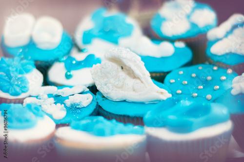 Celebration cake of baby boys christening Canvas Print