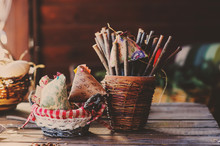 Rustic Easter Decorations On Wooden Table In Cozy Country House